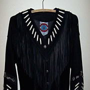 Ren Ellis Black Fringed Suede Leather Jacket With Beadwork.