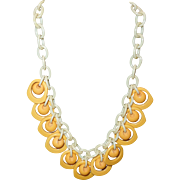 Vintage Butterscotch Bakelite Necklace on Celluloid Chain