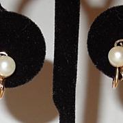 Vintage 14K and Pearl Screw Back Earrings