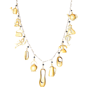 1920's-30's Brass Charm Necklace