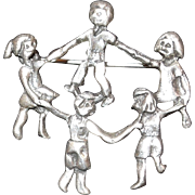 Sterling Silver Brooch Ring of Children Holding Hands