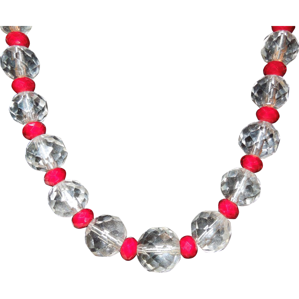 Clear and Red Faceted Crystal Necklace with Sterling Clasp
