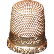 "14K Gold Thimble Size 8, ""Bertha"""