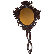 Beautiful Black Forest Carved Wooden Hand Mirror