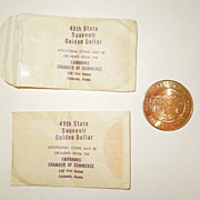 Pair of Alaska 49th State Souvenir Golden Dollars With Envelopes - Red Tag Sale Item