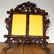 Black Forest Wood Hand Carved Double Frame Germany