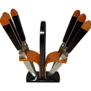 Vintage Two-Tone Bakelite Knife Set in Bakelite Rack