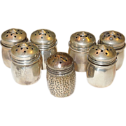 Vintage Set of 6 + 1 Sterling Silver Individual Salt and Pepper Shakers