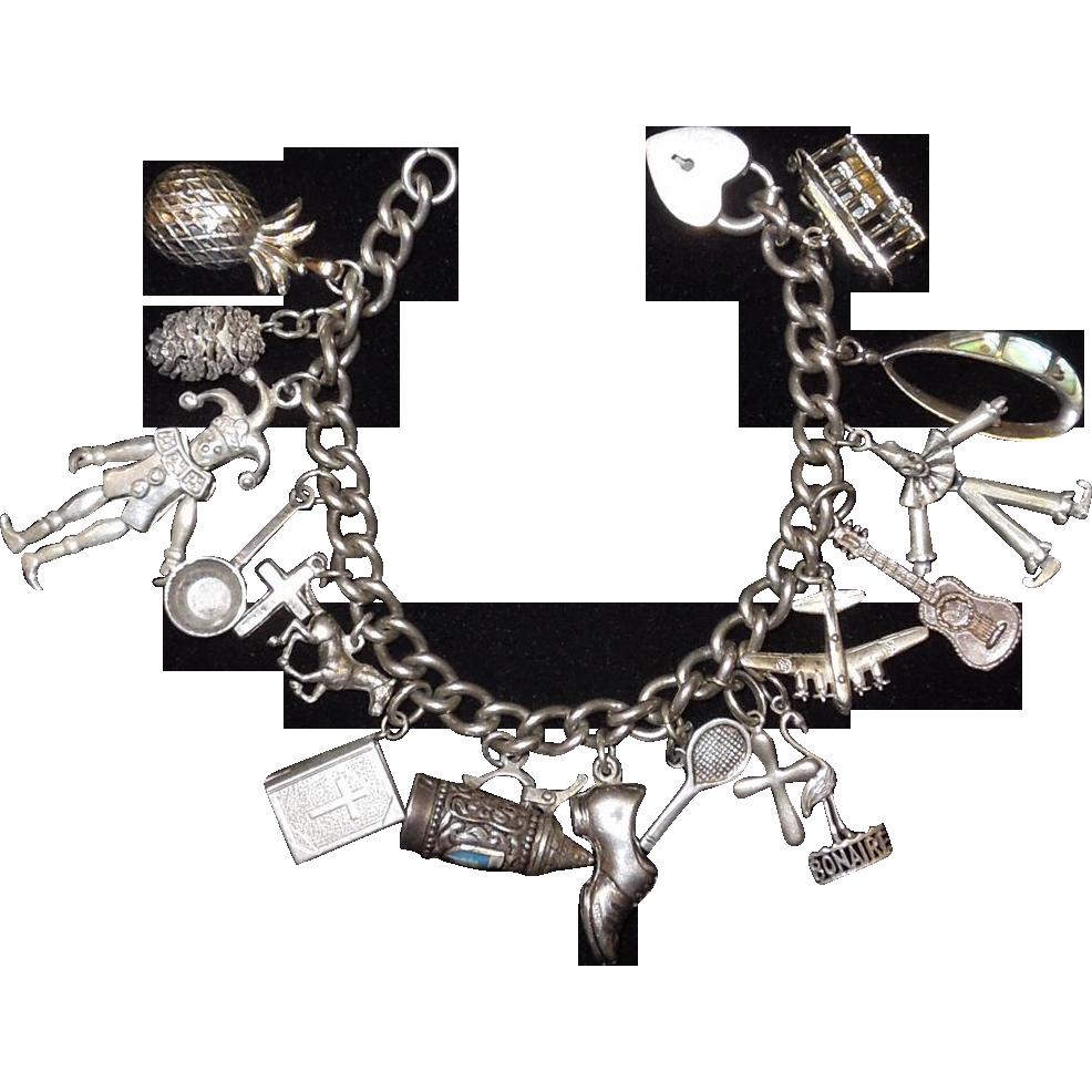 vintage sterling silver charm bracelet from