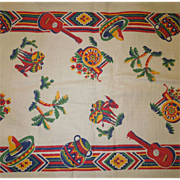 Vintage Mexican Design Fabric For Table Runner