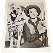 Vintage Tommy Kirk and Old Yeller Autograph - Red Tag Sale Item