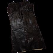 Long Black Leather Gloves 6 1/2