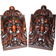 C. 1900 Black Forest Carved Wood Bookends