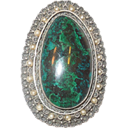 Large Malachite Brooch/Pendant Sterling Israel