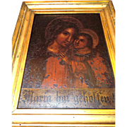 c 1870's Religious Oil Painting on Metal