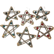 Set of 7 Vintage Glass Star Shaped Ornaments