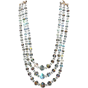 Triple Strand Aurora Borealis Crystal Necklace