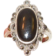 Sterling Silver, Black Onyx and Marcasite Ring Size 7 1/2