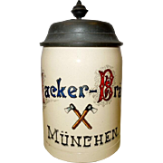 c.1900 German Hacker-Brau Munchen Lidded Stein