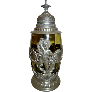 c.1904 GERMAN GLASS STEIN WITH PEWTER OVERLAY