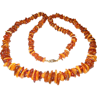Beautiful Long Strand Of Multi-Colored Natural Baltic Amber