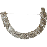 Art Deco Sterling and Marcasite Paneled Bracelet