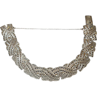 Art Deco Sterling and Marcasite Paneled Bracelet