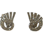 Vintage Sterling Silver and Marcasite Clip On Earrings Germany