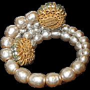Vintage Miriam Haskell Faux Pearl Bracelet