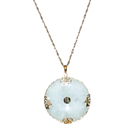 Beautiful Large Jade Disc With 14K Setting and 14K Chain