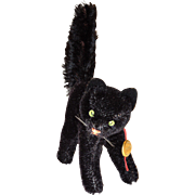 Vintage Hermann Teddy Mohair Arched Black Tom Cat