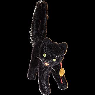 Vintage Hermann Teddy Mohair Arched Black Tom Cat