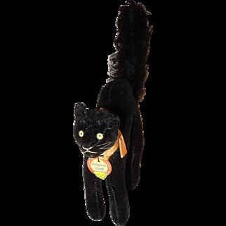 Vintage 10cm Steiff Velveteen Black Arched Tom Cat