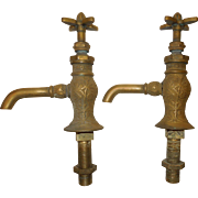 Antique 1890's Victorian Pair of Brass Faucets