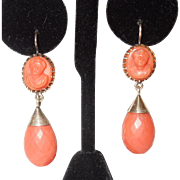 Antique 10K Victorian Salmon Coral Earrings