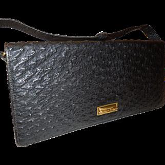 1930's Black Ostrich Skin Handbag
