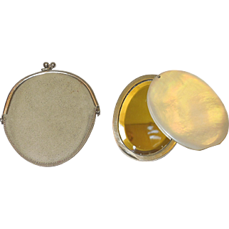 1930's ish Mother of Pearl Compact Mirror With Case