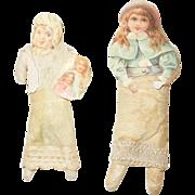 Antique Victorian Scrap and Cotton Christmas Ornaments- Pair