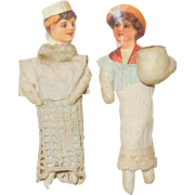 Antique German Victorian Scrap and Cotton Christmas Ornaments- Pair