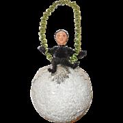 German Spun Cotton Christmas Ornament with Krampus Topper