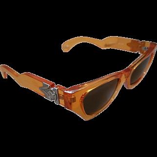 Ultra Rare Vintage Gianni Versace Orange Medusa Sunglasses 477A  Col. 844 Green Lens