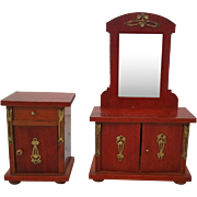 German Art Nouveau Red Mahogany Dresser and Nightstand  Dollhouse Furniture