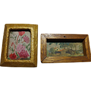 Two Unusual Dollhouse Pictures One With Hand Painted Fabric