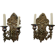 Set of 2 Dollhouse German Soft Metal Candle Sconces, Finely Detailed