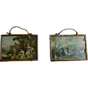 """Two Soft Metal Framed German Dollhouse Pictures 2 1/2"""" x 1 3/4"""""""