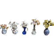 Five Vintage Dollhouse Flower Bouquets in Vases / Pitchers