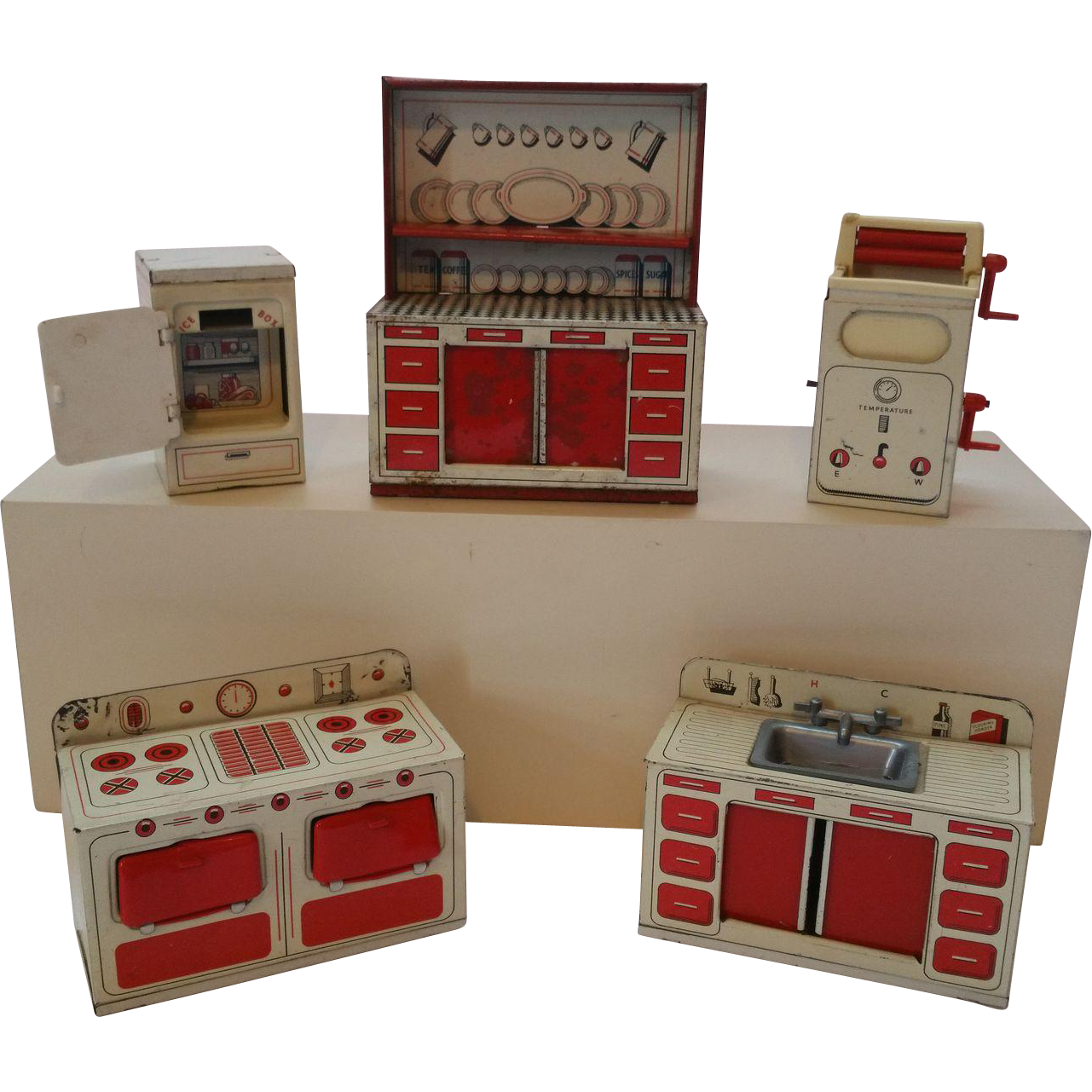 vintage brimtoy tin litho dollhouse kitchen set from