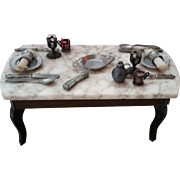 German Marble Top Dollhouse Table, Fully Set With Dishes Cutlery