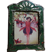 Tiny Emerald Green Art Nouveau Guilloche Enamel Frame w/ Fairy Picture