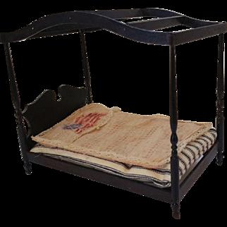 Dollhouse Black Paint Canopy Bed, Flag Coverlet